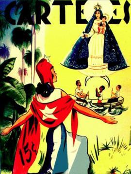 Portada de revista Carteles, virgen y bandera cubana.